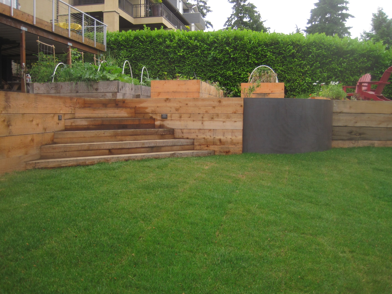 Wood Retaining Wall On Hill